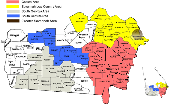 Georgia Regional Service Committee Of Narcotics Anonymous - Georgia map with regions